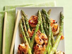 Grilled Shrimp & Asparagus, only 82 calories and 12 grams protein. Lunch idea