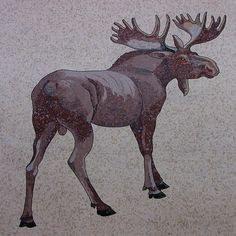 Bull Moose mosaic at front entrance to the Canadian Museum of Nature.