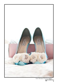 Blue wedding shoes. Photo by Kari Renee Photography