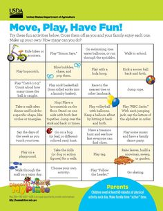 Try these fun ideas to help your #child stay physically active! Free #family handout from Discover #MyPlate. Also in #Spanish. #parents #kindergarten  http://www.fns.usda.gov/tn/discover-myplate-parent-handouts