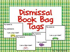 Great resource to keep dismissal time organized!! These tags will help make sure your students won't accidentally find themselves in the wrong area of the school once they leave your classroom. Simply fill out the name of the student with a marker and zip tie it to their book bag. Great resource for younger elementary students!!!