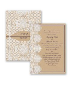 Lovable Lace Wedding Invitation by David's Bridal