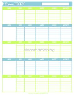 Keep track of your family's appointments (dr., ortho, dentist, eye doc etc.) with this handy FREE printable via Clean Mama