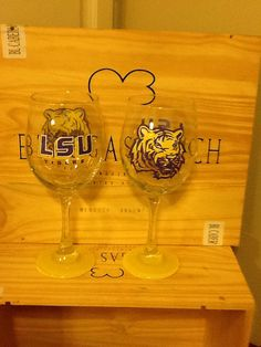 Hand Painted LSU Tigers Wine Glass on Etsy, $24.95