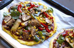 BBQ Polenta Pizza. A polenta crust? Why not! real life, vegan polenta pizza, pizzas, vegan savori, vegan recip, blog, polenta crust, crusts, bbq polenta