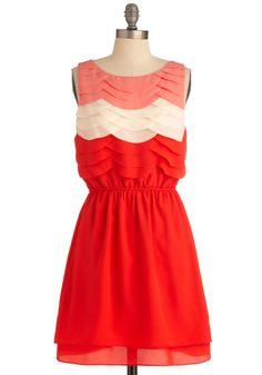 Pretty red/white/pink ruffled dress