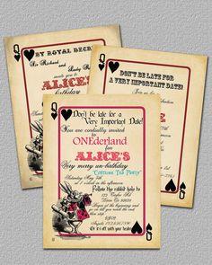Playing Card Alice in Wonderland Invitation