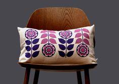 Scandinavian Retro flower 1970 purple pink  folk Cushion Cover by Gunna Ydri. $26.00, via Etsy.