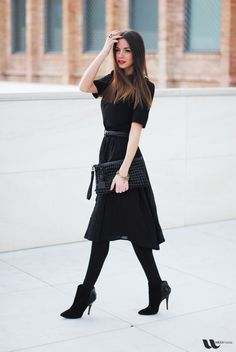 Lovely black outfit. black style, fashion, black outfits, cloth, ankle boots, the dress, red lips, tights, little black dresses
