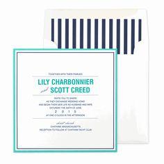 Newport Invitation with 2 Ink Colors by BRIDES Magazine and Checkerboard Designs - Invitation Box