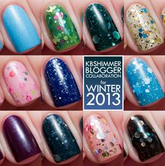 KBShimmer Blogger Collection for Winter 2013 Swatch and Review | Chalkboard Nails