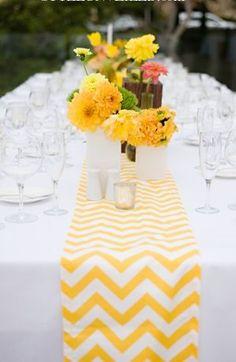 #yellow wedding table ... Yellow and white chevron pattern table runner. #wedding