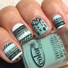 mint green, dream catchers, nail polish, native americans, color, nail designs, nail arts, tribal nails, tribal prints