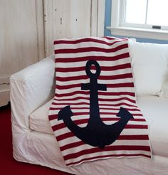 Nautical French Striped Anchor Throws
