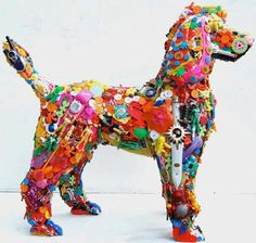 Cool Art Made From Used Toys: Recycled Toy Dog Sculpture