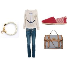 Nautical themed outfit-- Navy, gold, and red accents, created by chaliceanne on Polyvore