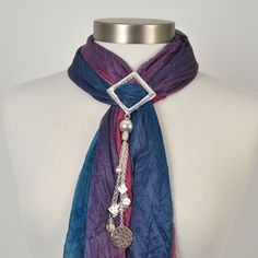 Silver Outline with Drops Scarf Jewelry | Affordable Costume Jewelry, Scarf Jewelry | Purple Box Jewelry