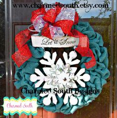 Turquoise and Red Snowflake Burlap Wreath Charmed by CharmedSouth  Hot new colors for Christmas www.charmedsouth.etsy.com