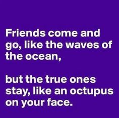 Friends come and go, like the waves of the ocean, but the true ones stay, like an octupus on your face.