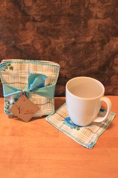 Vintage teapot cloth coaster set by Fruitionbyjennifield on Etsy, $10.00