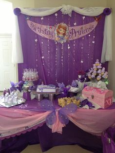 cake table for Sofia the first!!!!!!!!!!!!!!!!
