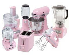pink kitchen appliances // I have that mixer. I need the rest. cook, appliances, dream, pink applianc, tickl pink, pink kitchens, hous, pinkkitchen, kitchen applianc