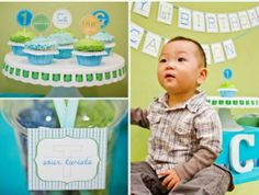 He's loving the party his parents put together for him! birthday parties, cake stands, cake party, first birthdays, boy birthday, 1st birthdays, parti idea, first birthday cakes, birthday ideas