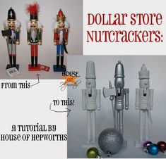 Make your own knock-off West Elm Novelty Nutcrackers using cheap nutcrackers from a dollar store + a can of spray paint.  tutorial @ houseofhepworths.com