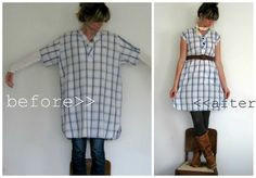 a man's XL night shirt to cute lightweight dress or long shirt...perfect with leggings :)
