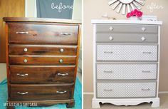 dresser makeovers, painted furniture, old drawers, old furniture, sheet metal, old dressers, furniture redo, dresser redo, chest of drawers