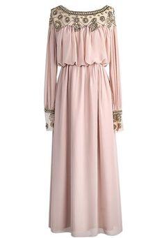 Sheinside Women's Apricot Long Sleeve Bead Pleated Chiffon Dress (L, Apricot)
