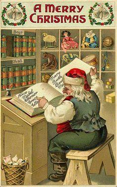 Merry Christmas - Santa checking his list to see who's been naughty or nice