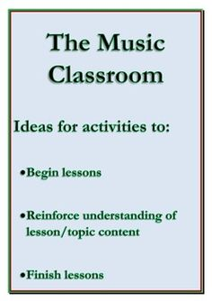 30 FANTASTIC ideas for activities with your music class!