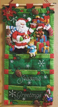 "Bucilla Felt Applique Kit 12"" x 24"" SANTA'S CARD HOLDER appliqu kit, bucilla felt, card holders, appliques, felt kit, felt applique, christma, cards, santa card"