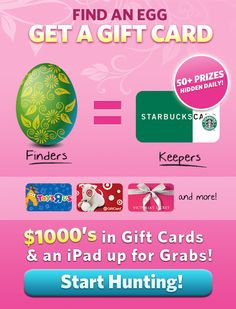 Pin It 2 Win It - Easter Egg Hunt. We will give a Gift card to someone who re-pins this post!!!!!
