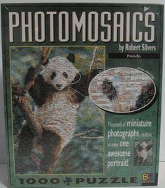 Panda bear Photomosaics 1000 piece jigsaw puzzle. Perfect for puzzle fans who love pandas and animals. $34.95 with FREE shipping and handling. #photomosaics #jigsawpuzzles #panda jigsaw puzzl, ebay treasur, pandabear, panda bear, jigsawpuzzl, fan