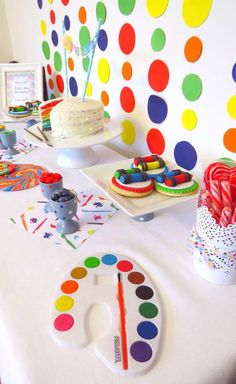 Rainbow Art birthday party dessert table!  See more party planning ideas at CatchMyParty.com!