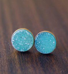 Teal Druzy Post Earrings by friedasophie on Etsy, $69.00