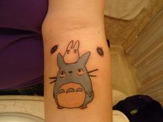 studio ghibli, totoro tattoo, films, neighbor totoro, childhood, sister tattoos, tattoo ink, black, miyazaki