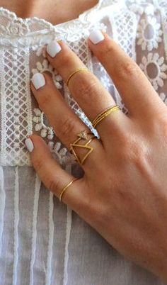 white nails + gold rings #jewelry #gold #rings