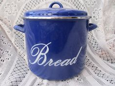 vintag bread, bread box, enamelwar blue, bread bin, blue bread