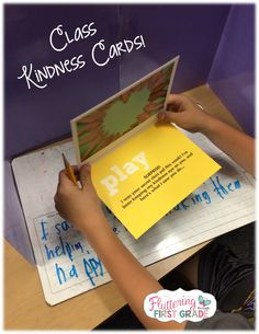 Class Kindness Cards - We gave our class a little challenge...Pick a friend and keep a silent eye on them all week. Look for specific things they do that show kindness. At the end of the week, they revealed themselves by writing  kindness cards to their secret pal!