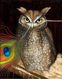 CockEating Night Owl 2011 acrylic and oil by KelleyQuigleyDesigns, $675.00