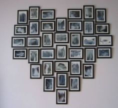 Hanging frames in a heart shape