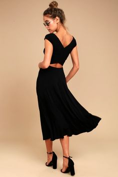 Chic Black Dress - Short Sleeve Dress - Midi Dress - $54.00