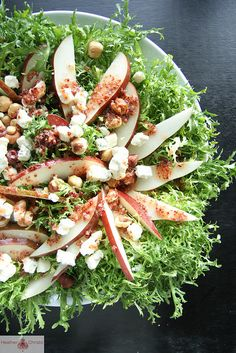 Frisee and Pear Salad with Cranberry Mustard Vinaigrette by Heather Christo