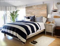 A Hip DIY Nautical Bedroom with a Surf Vibe bed frames, headboard, wood pallet, rustic nautic, bedroom makeovers, master bedrooms, hous, nautical bedroom, nautic master