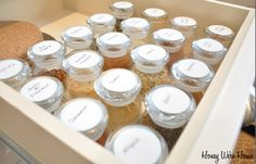 Put labels on lids of spices. Then I wouldn't have to rummage around trying to find the spice I need.