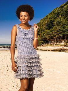 Dress with Ruffles free crochet graph pattern