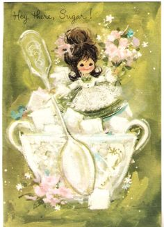 Sweet as Sugar Little Girl Vintage Greeting Card